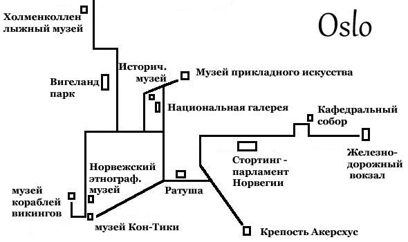 достопримечательности осло на карте