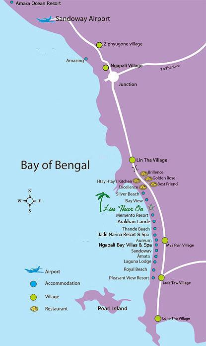 карта нгапали с отелями