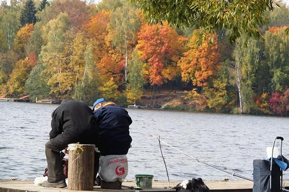 удачливые рыболовы в процессе ловли