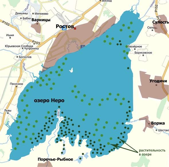 озеро неро карта растительность в озере и окрестные села