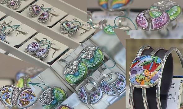 нежная роспись серьги браслеты и кольца