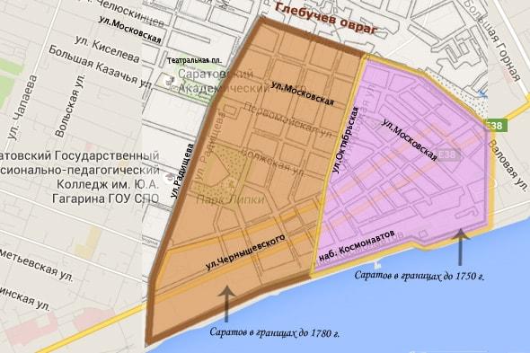 город саратов границы 18 и 19 веков