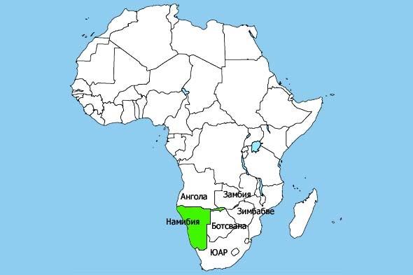 где находтся намибия на карте африки