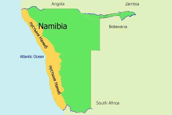 пустыня намиб на карте