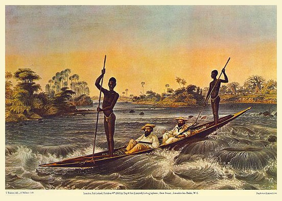 лодка направлялась по реке замбези  в сторону ревущей пропасти