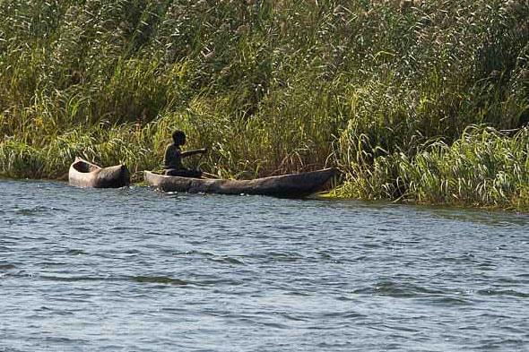 местные жители поколениями плавают по реке окаванго на лодках мокоро