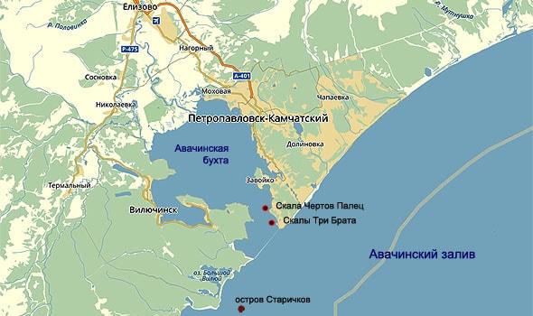 внешняя и внутренняя части авачинского залива