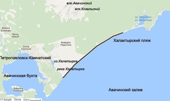 халактырский пляж на карте