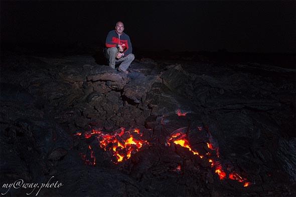 посидеть на еще теплой поверхности лавы