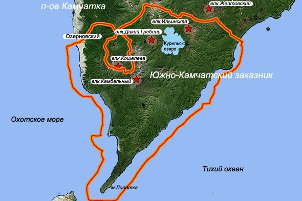 южно камчатский заказник и курильское озеро на карте