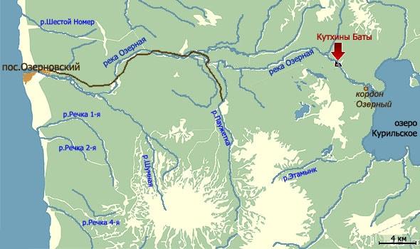 озерная и соседние реки на карте