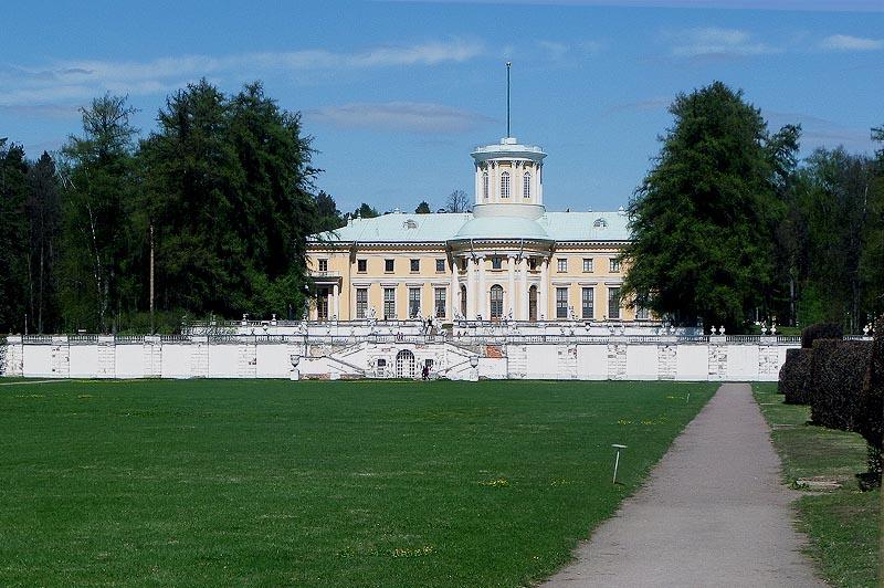 вид на большой дворец и террасы усадьба юсуповых архангельское