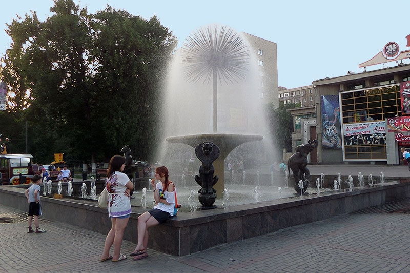 фонтан одуванчик серебристый водяной шар