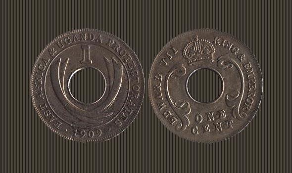 монета с дыркой специально выпущенная для обращения в  протекторате кения