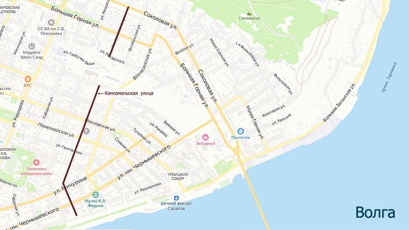 на карте улица комсомольская в саратове